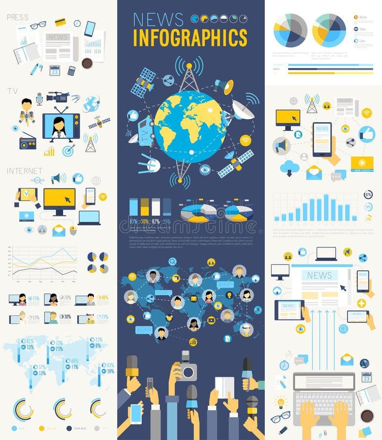 NyheternaInfographic uppsättning med diagram och andra beståndsdelar royaltyfri illustrationer