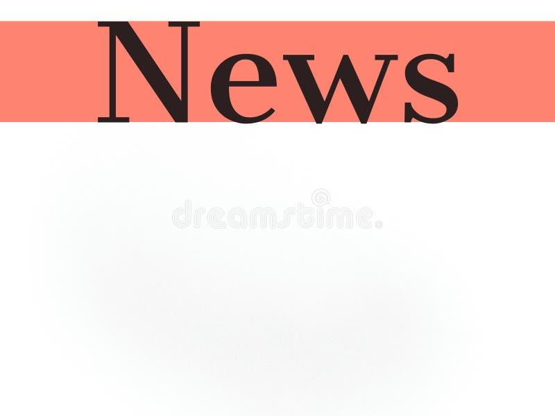 Nyheternaord på vit tom bakgrund och orange färglinje för bruk royaltyfri foto