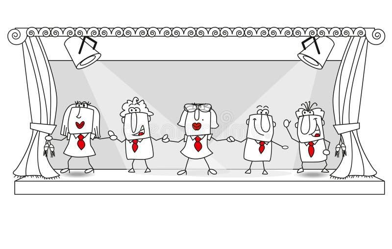 Nyheternaroll av laget på etappen stock illustrationer