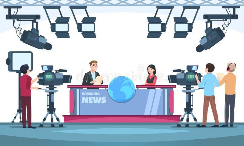 NyheternaTV-programstudio Presentatörer som sänder med kameraman på television Folk som talar till kameran i studio vektor stock illustrationer