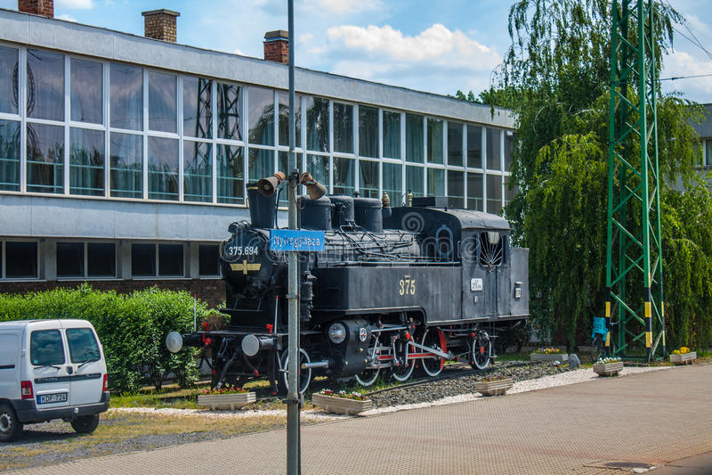 NYIREGYHAZA, ВЕНГРИЯ, 12-ОЕ МАЯ 2016 Старый ретро поезд пара на вокзале города Nyiregyhaza, Венгрии стоковое изображение rf