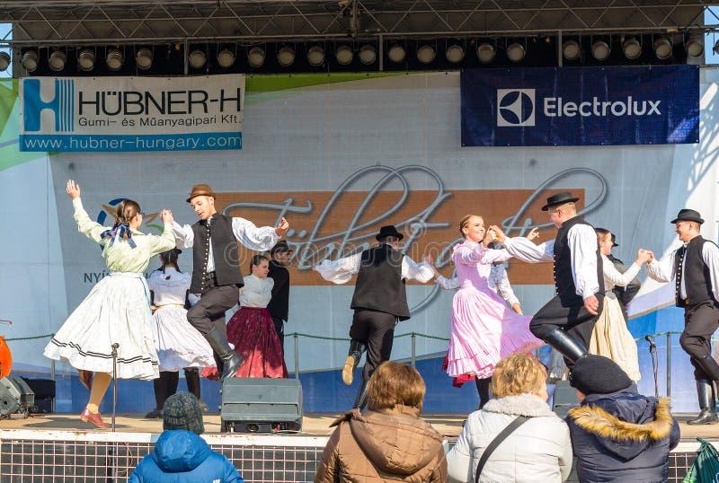 Nyiregyhaza, Hungría, Februar 16, 2019 Funcionamiento húngaro del conjunto de la danza del folclore en traje popular tradicional imagen de archivo