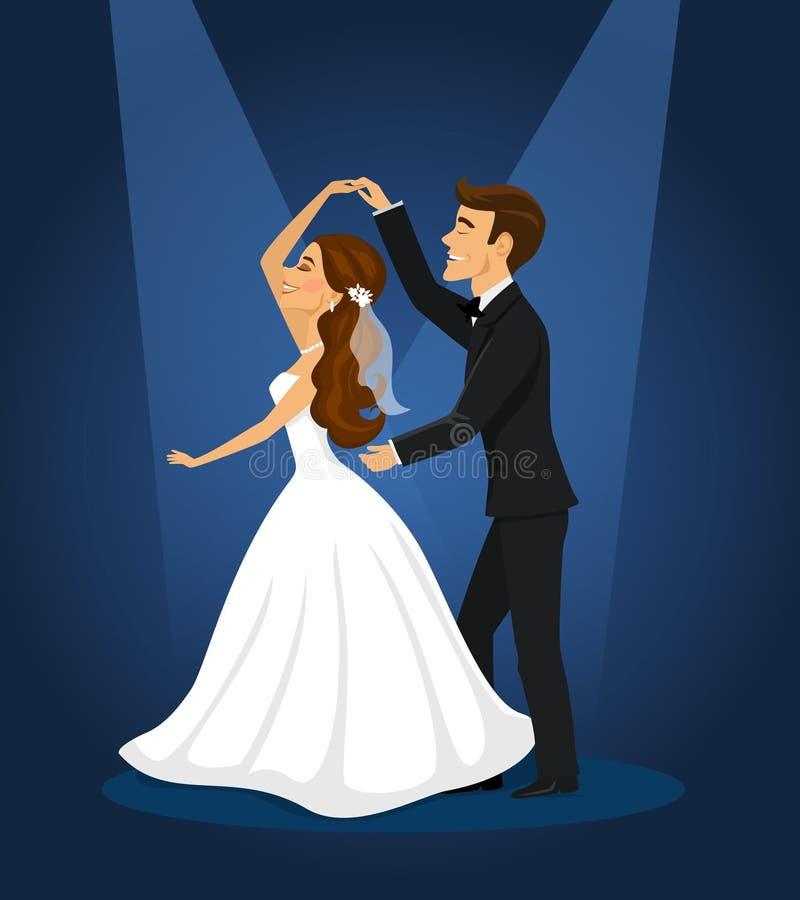 Nyligen gift parbrud och brudgum royaltyfri illustrationer