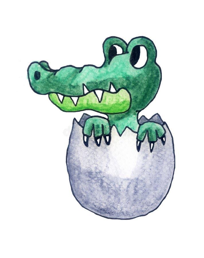 Nyligen kläckt behandla som ett barn krokodilen stock illustrationer
