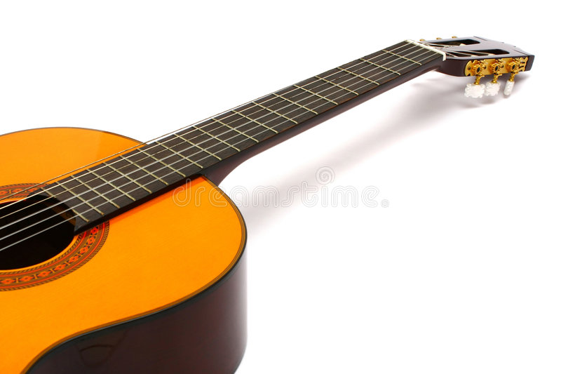 Nylon Guitar. Laid down and view from it's body stock image