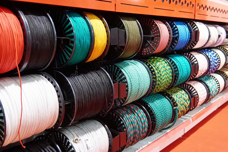 Nylon rope for climbing and work in store. Nylon rope for climbing and high-altitude work in store stock photos