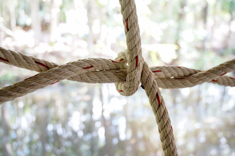 Nylon rope knot. On blur background stock images