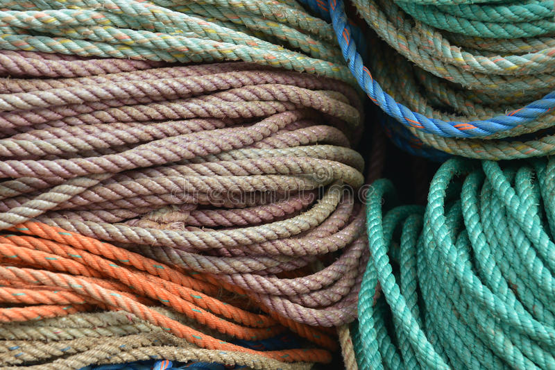 Nylon rope used for lobster fishing details stock photos