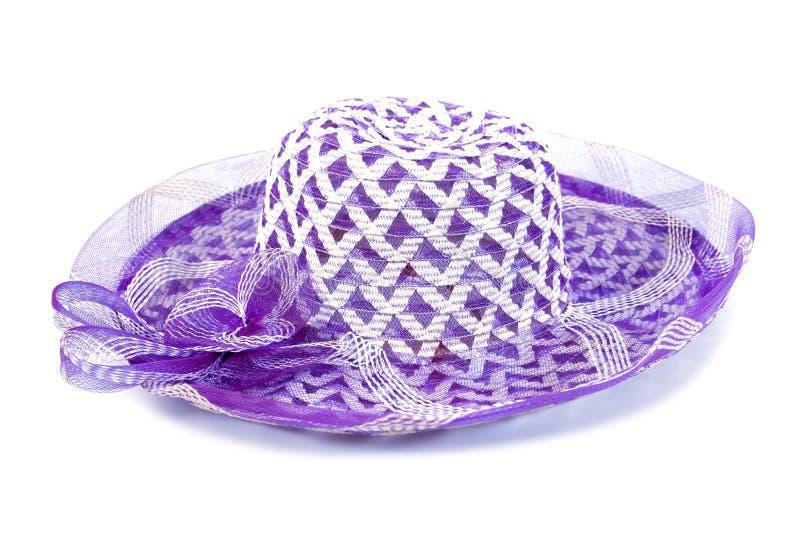 Nylonowa kobieta wyplata kapelusz odizolowywającego na białym tle Wyplata kapelusz odizolowywaj?cego zdjęcia stock