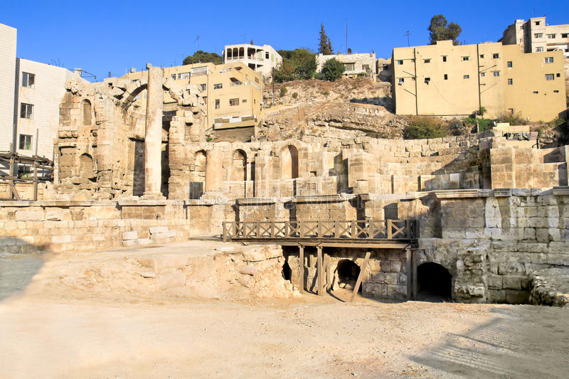 The Nymphaeum , Amman, Jordan. The Nymphaeum -Roman public fountain (12ND centruy A.D.) was decorated with columns statues Nymphs, Amman, Jordan stock photos