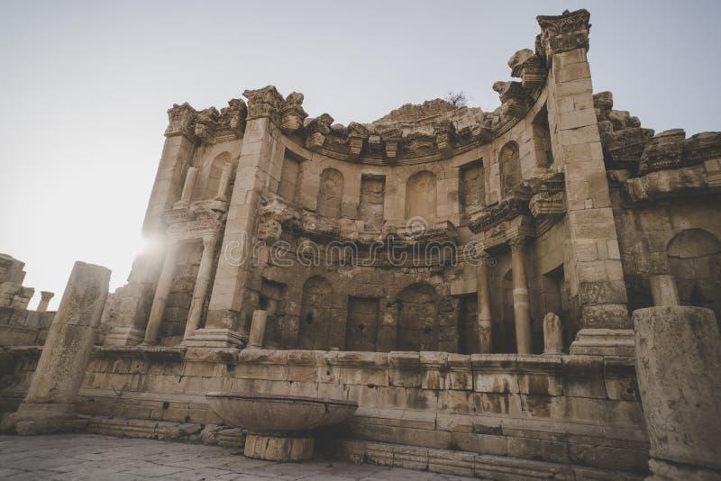 Nymphaeum in Jerash, Giordania città giordana antica di Gerasa la città romana antica di Jerash è una delle attrazioni principali fotografia stock libera da diritti