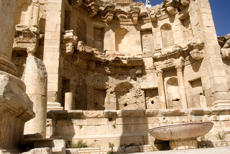 Nymphaeum, Jerash, Giordano fotografia stock