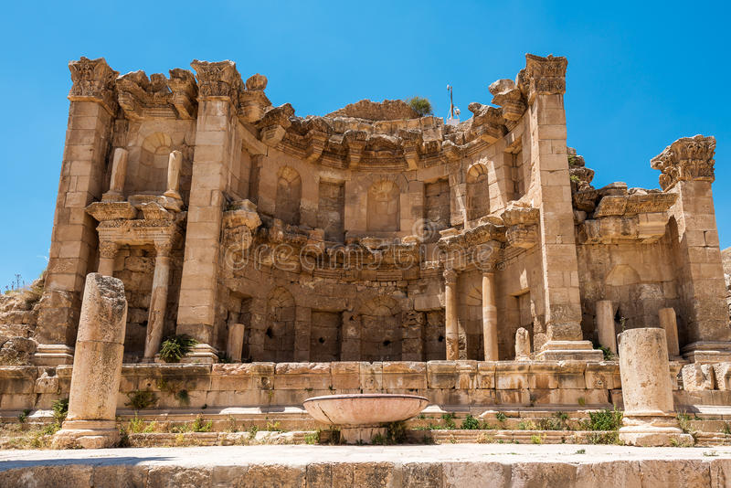 Nymphaeum nella città romana di Gerasa fotografie stock libere da diritti