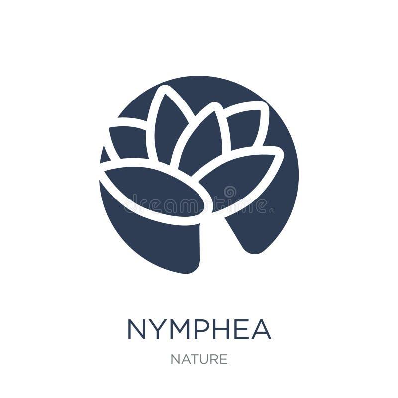 Nympheapictogram In vlak vectornymphea-pictogram op witte backgroun stock illustratie
