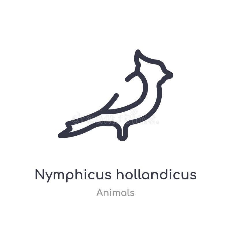 nymphicus hollandicus konturu ikona odosobniona kreskowa wektorowa ilustracja od zwierz?t inkasowych editable cienieje uderzenia  ilustracja wektor