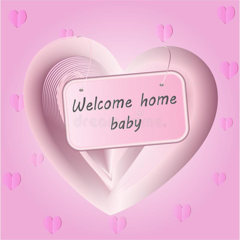 Newborn Baby girl arrival announcement pink card template with heart shape stock illustration