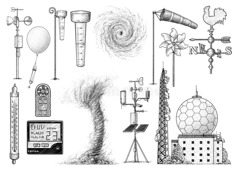 Weather research tool collection illustration, drawing, engraving, ink, line art, vector. Illustration, what made by ink and pencil on paper, then it was stock illustration