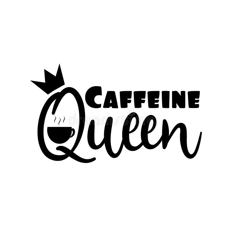 caffeine queen  label gift tag text stock vector