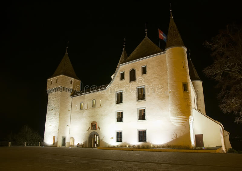 Download Nyon Castle by night stock image. Image of building, chateau - 12234791