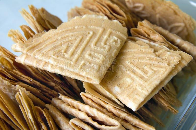 Nyonya Kuih Kapit Egg Biscuits Closeup. Penang Nyonya Peranakan Kuih Kapit Egg Flour Biscuits Closeup stock photos