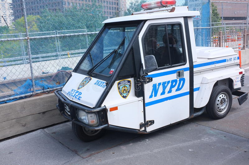 NYPD警察滑行车3轮车汽车 库存照片