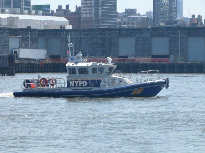 NYPD στον ποταμό του Hudson στοκ εικόνα με δικαίωμα ελεύθερης χρήσης