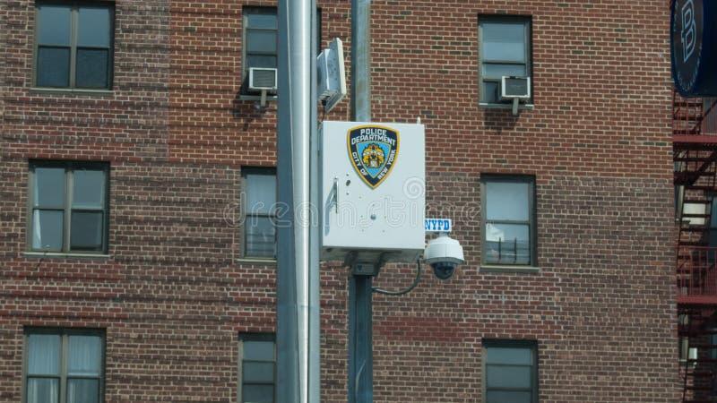 NYPD-bevakningkamera, i att spola royaltyfri foto