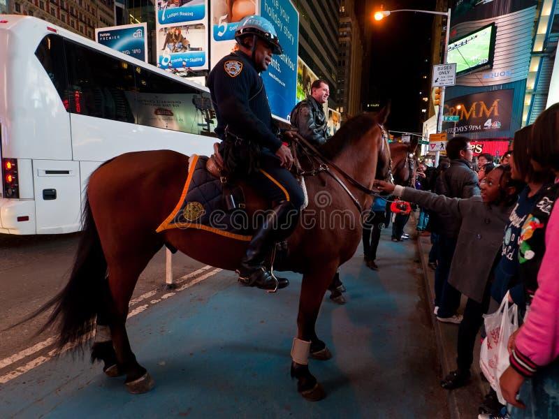 NYPD Mounted Policeman, Midtown Manhattan, New York City stock photos