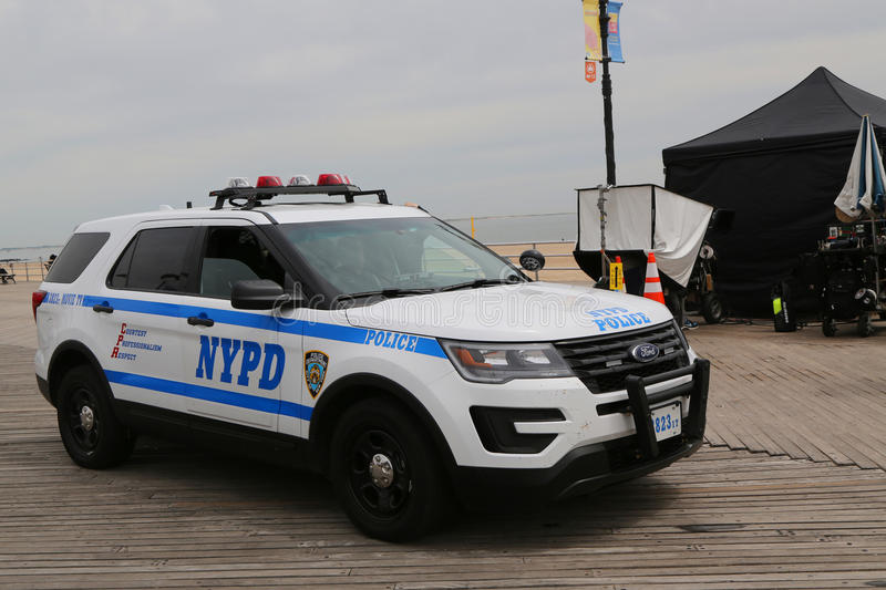 NYPD Movie TV unit provides security during movie production at Coney Island Boardwalk in Brooklyn, New York royalty free stock images