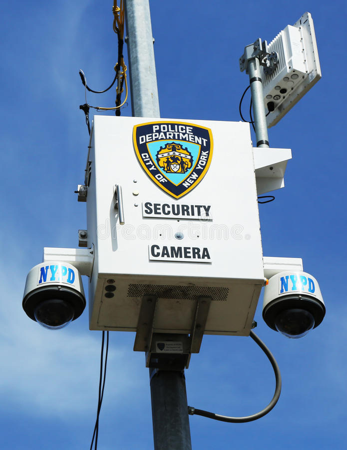NYPD security camera placed at the intersection in Staten Island, NY. STATEN ISLAND, NY- APRIL 4: NYPD security camera placed at the intersection in Staten stock image