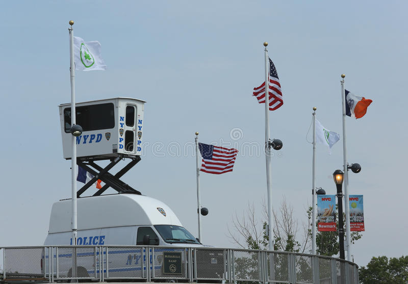 NYPD Sky Watch Platform Placed Near National Tennis Center Editorial Photography