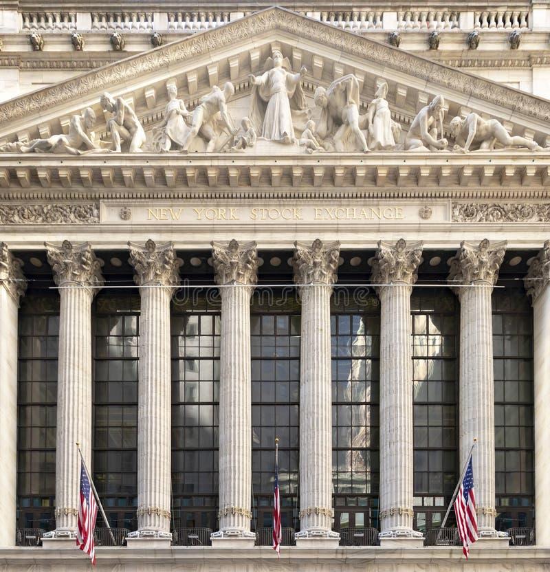 NYSE纽约证券交易所大厦的外视图在曼哈顿下城财政区在纽约 库存图片