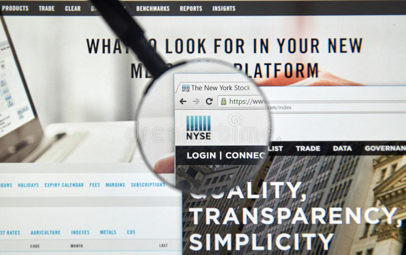 NYSE-Web-pagina stock afbeelding