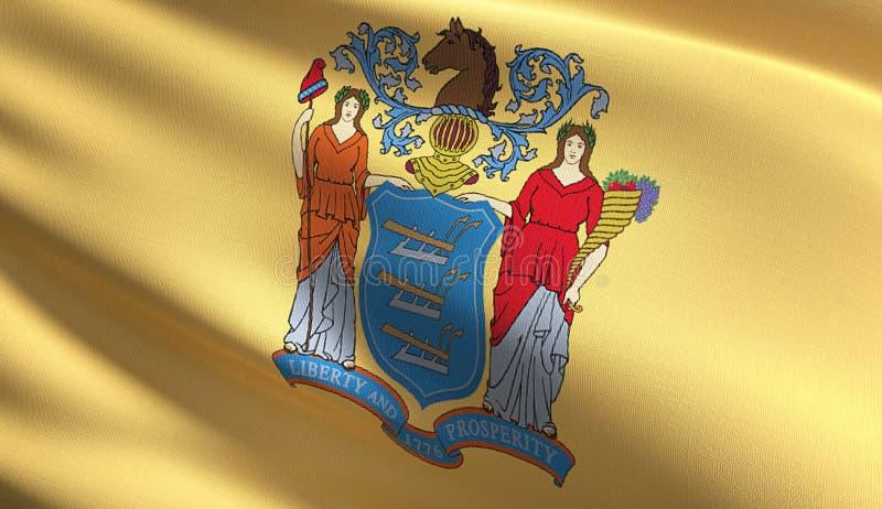Nytt - ärmlös tröjatillståndsflagga i Amerikas förenta stater, USA som blåser i den isolerade vinden Officiell patriotisk abstrak vektor illustrationer