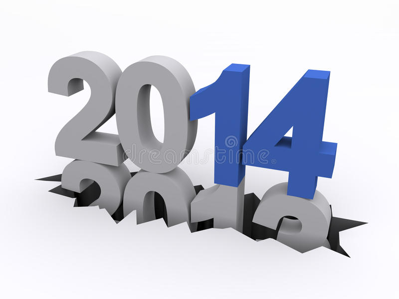 Nytt år 2014 kontra 2013 stock illustrationer