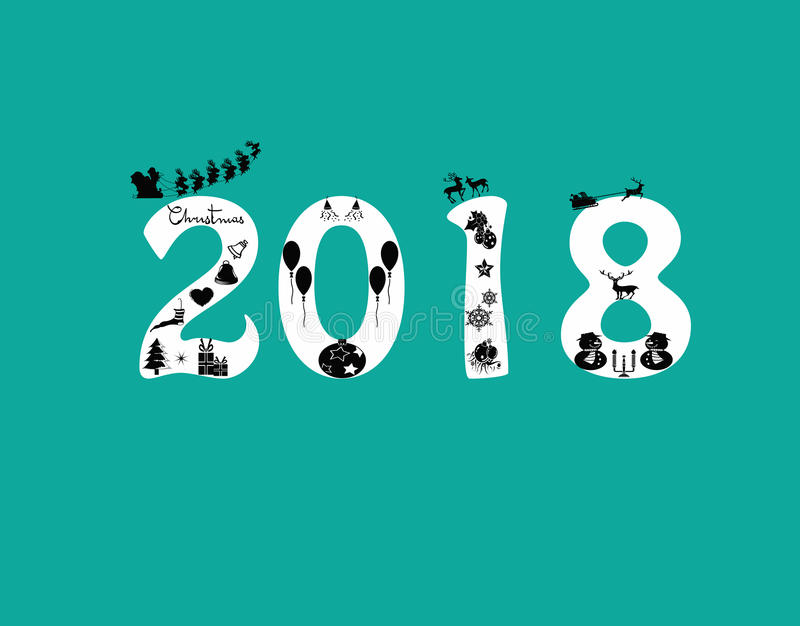 Nytt år 2018 stock illustrationer