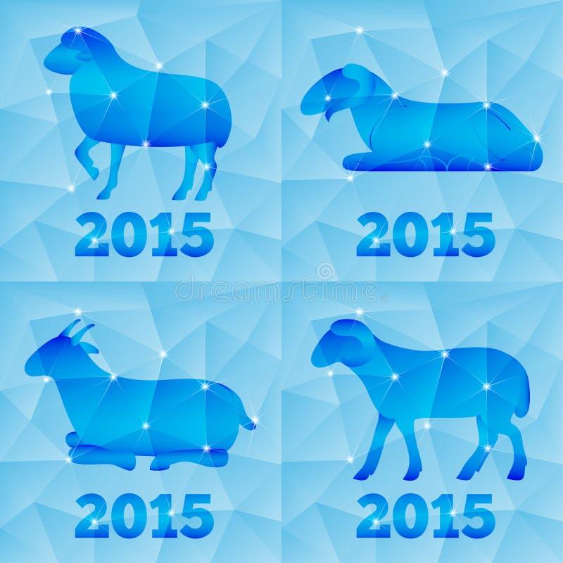Nytt år av geten eller fåren 2015, polygonal geometriskt royaltyfri illustrationer