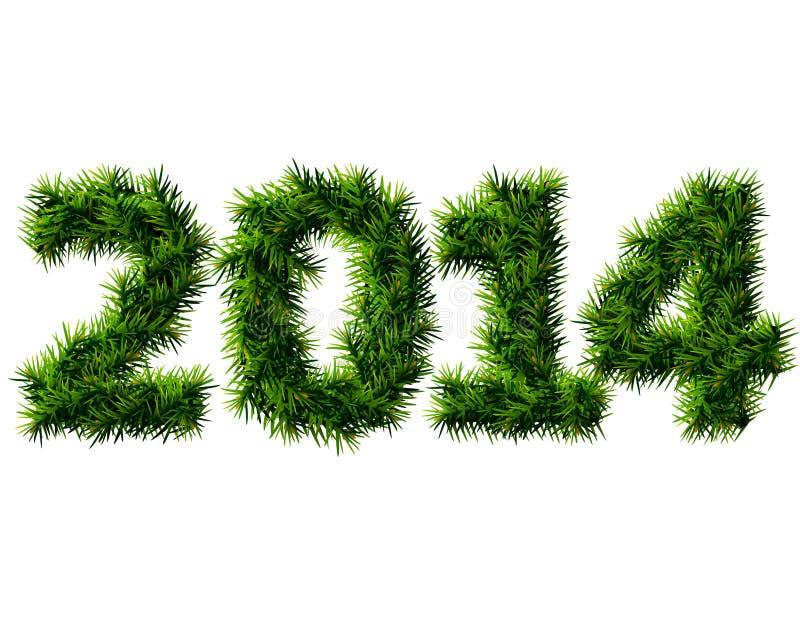 Nytt år 2014 av isolerade julträdfilialer  royaltyfri illustrationer