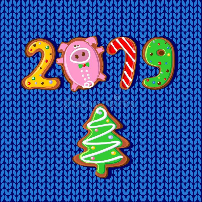nytt år 2019 år av SVINET Ljust rödbrun kex i form av nummer Modell stuckit tyg vektor stock illustrationer