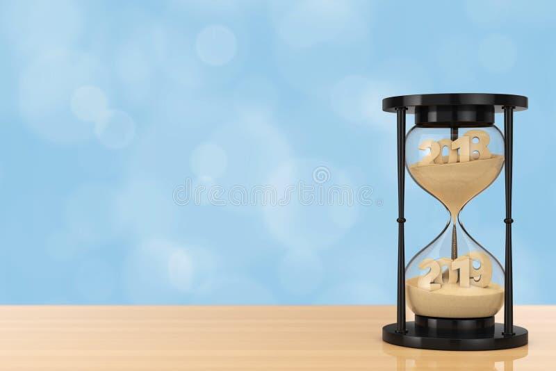 Nytt 2019 år begrepp Sand som faller i timglaset som tar Shapen royaltyfri illustrationer