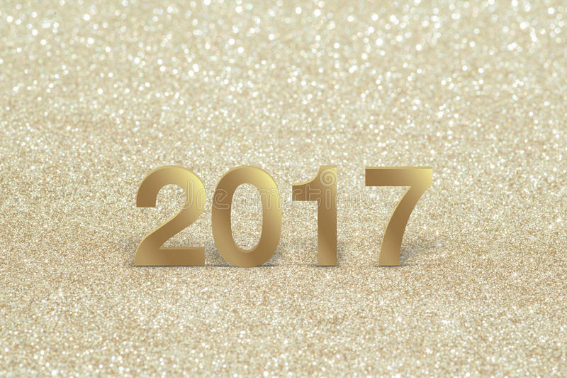 Nytt år Closeup på guld- 2017 arkivbilder