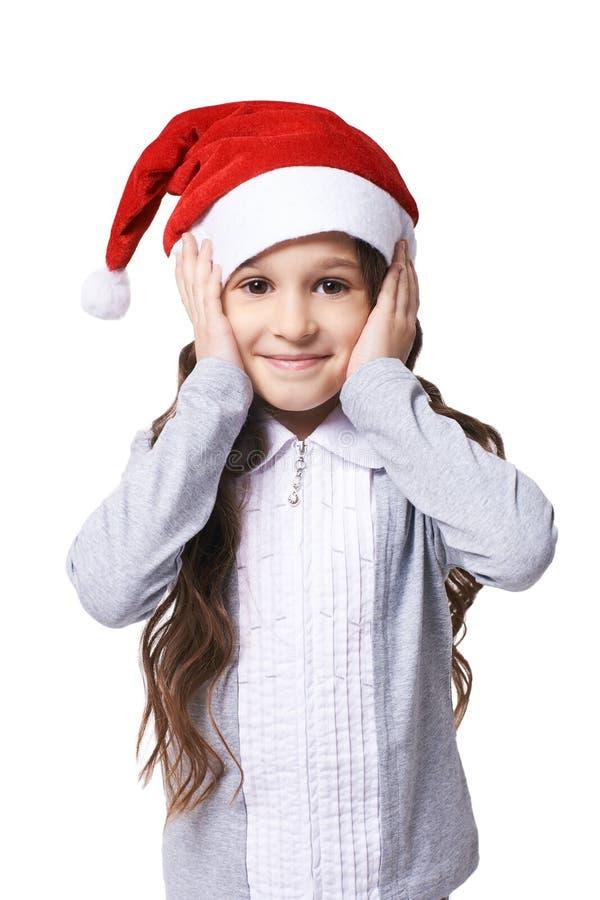 nytt år dvärg- little Flicka i lock arkivbild