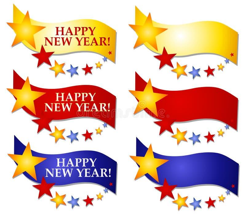 nytt år för 2 logoer för baner lyckliga vektor illustrationer