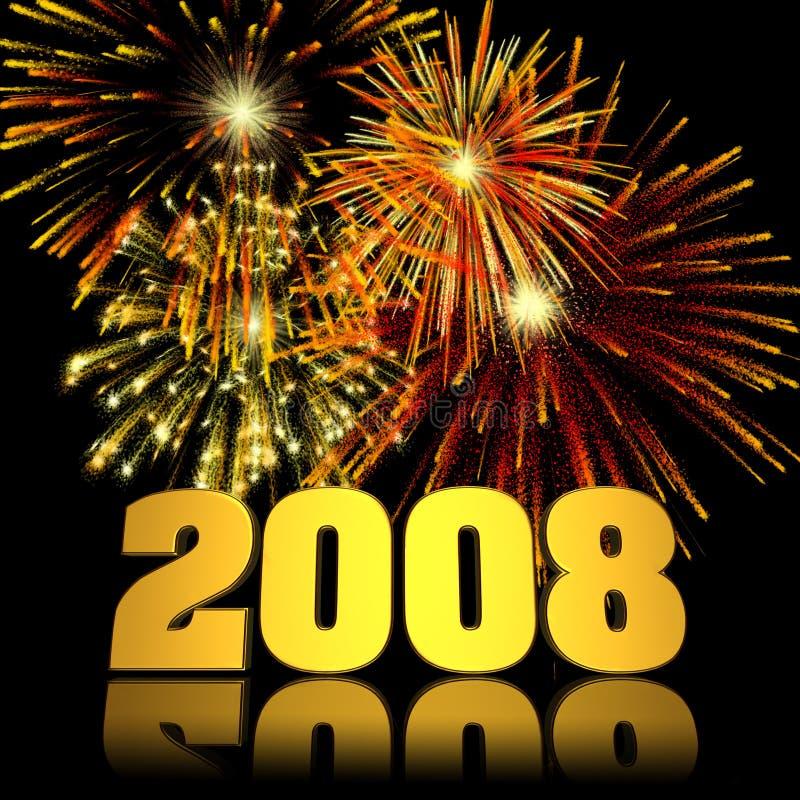 nytt år för 2008 fyrverkerier royaltyfri illustrationer