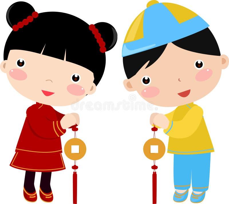 nytt år för barnhälsningar stock illustrationer