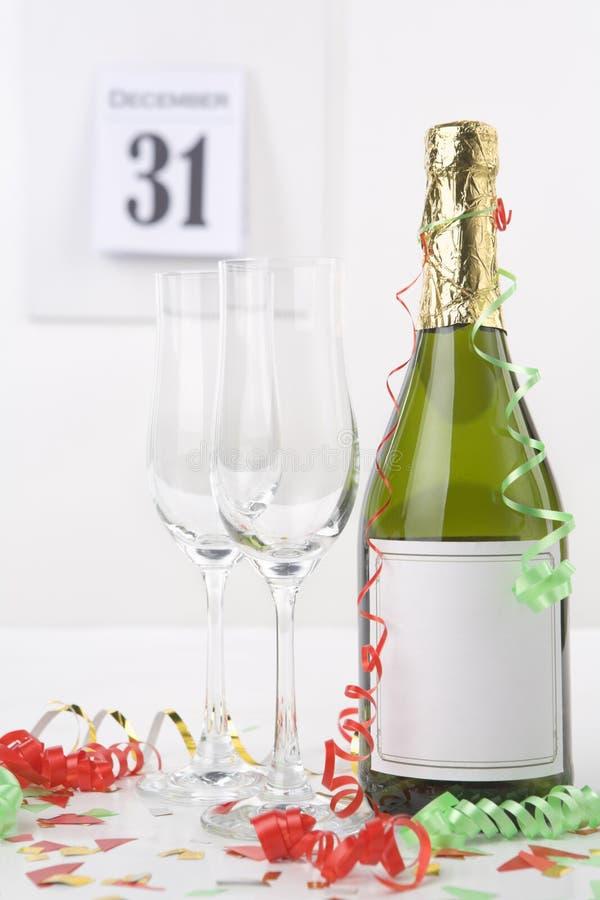 nytt år för champagnehelgdagsafton arkivbild
