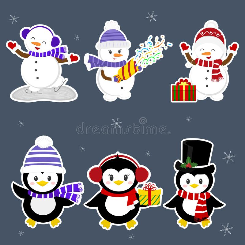 nytt år för 2d för kortjuldator diagram för designe A ställde in klistermärkear av tre pingvin och tre snögubbetecken i olika hat royaltyfri illustrationer