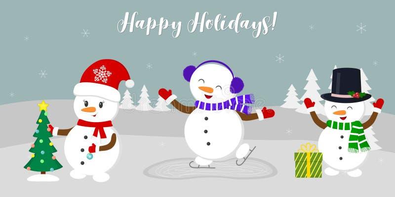 nytt år för 2d för kortjuldator diagram för designe Tre gulliga snögubbear och att åka skridskor, klä upp julgranen och tyckande  vektor illustrationer