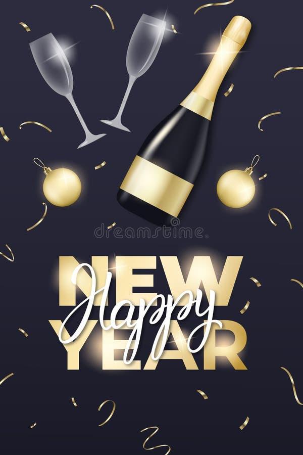 nytt år för design Orientering med champagneexponeringsglas, flaskan, guld- bollar, konfettier och bokstäver för nytt år royaltyfri illustrationer