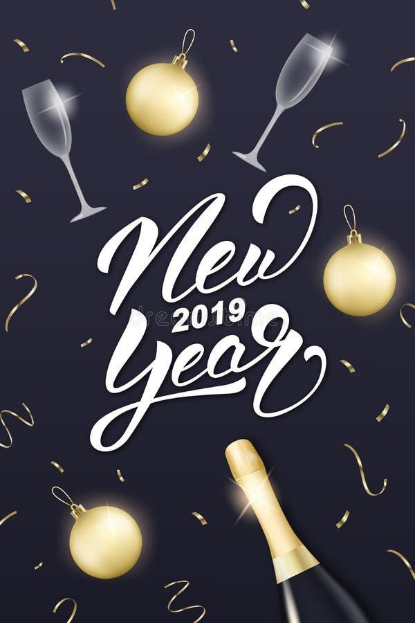 nytt år för design Orientering med champagneexponeringsglas, guld- bollar, konfettier och det nya året 2019 som märker royaltyfri illustrationer